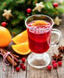 Glass of hot mulled wine royalty free stock photo