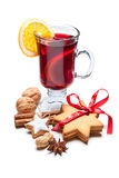 Glass of hot red mulled wine Royalty Free Stock Images