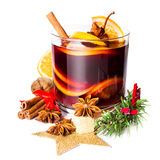 Glass with Hot red mulled wine for winter and Christmas with ora Royalty Free Stock Photography