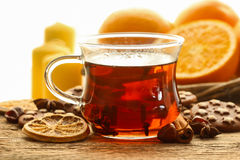 Glass of hot steaming tea Stock Photography