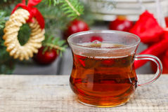 Glass of hot steaming tea Stock Photo