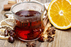 Glass of hot steaming tea Royalty Free Stock Images
