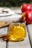 Glass of hot steaming tea Royalty Free Stock Image