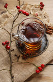 Glass of hot steaming tea Stock Images