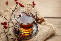 Glass of hot steaming tea Royalty Free Stock Photography