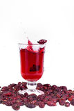 A glass of hot Uzvara of rose hips and berries scattered around. Effective methods to combat colds and flu. Stock Image