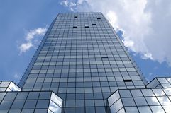 Glass house. Building against sky, Bank square stock photo