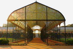 Glass House. This photo is of a glass house in which the roof of the entire structure is made out of glass completely.The roof has also the marks of exquisite Royalty Free Stock Images