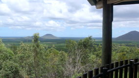 Glass House Lookout. GLASS HOUSE MOUNTAINS, AUSTRALIA - February 2 2014: The iconic Glass House  Mountains is a heritage listed national park and one of stock footage