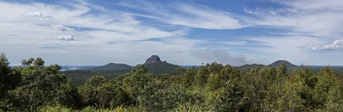 Glass House Mountains – Views from the Lookout. View from the aptly named Glass House Mountains Lookout towards, from left to right, Mount Cooee 191m royalty free stock image