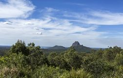 Glass House Mountains – Views from the Lookout. View from the aptly named Glass House Mountains Lookout towards, from left to right, Mount Cooee 191m royalty free stock photos