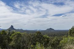 Glass House Mountains – Views from the Lookout. View from the aptly named Glass House Mountains Lookout towards, from left to right, Mount Coonowrin 377m stock images