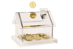 Glass house shaped piggy bank and gold coins.3D illustration. Glass house shaped piggy bank and gold coins Stock Photos