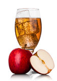Glass with ice of apple cider with fresh apple. Glass with ice cubes of apple cider with fresh red apple on white background Stock Images