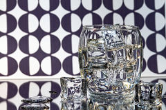Glass of Ice on Black/White Abstract Background Royalty Free Stock Images