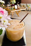 A glass of ice coffee on  table. Royalty Free Stock Images