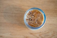 Glass of ice latte coffee for drink Royalty Free Stock Image