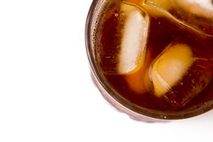 Glass with ice tea full with ice cubes. On white background Royalty Free Stock Images