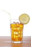 Glass of ice tea with lemon Stock Photos