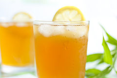 Glass of ice tea with lemon Royalty Free Stock Photos