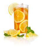 Glass of ice tea. With lemon and mint on white background Royalty Free Stock Photos
