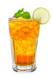 Glass of ice tea with lemon on white background Royalty Free Stock Images