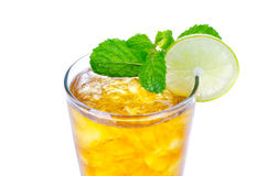 Glass of ice tea with lemon on white background Stock Photography
