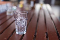 A glass of ice with water drop condense around it. Royalty Free Stock Images