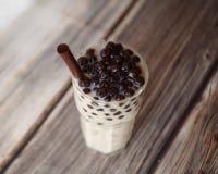 Iced bubble milk tea. A glass of Iced bubble milk tea royalty free stock photo