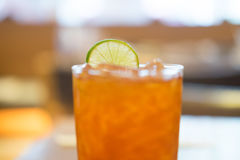 Glass of Iced lemon tea cold drink Royalty Free Stock Photos