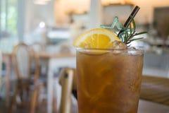 Glass of iced lemon tea Stock Photos