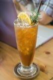Glass of iced lemon tea Royalty Free Stock Image