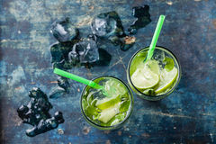 Glass of iced Mojito cocktail Royalty Free Stock Image