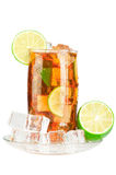 Glass of iced tea. With ice cubes, lime and mint, covered with water drops on white background royalty free stock photo