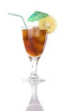 Glass Of Iced Tea With Lemon And Umbrella Royalty Free Stock Photo