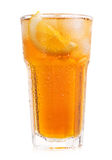 Glass of iced tea with lemon on white background Stock Images