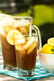 Glass of Iced Tea With Lemons and Mint In Summer Royalty Free Stock Photography