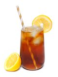 Glass of iced tea with lemons and straw over white Royalty Free Stock Image