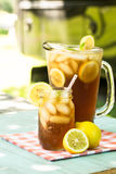 Glass of Iced Tea In Summertime Stock Photos