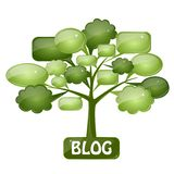 Glass icon for blog. Green tree with speech bubbles as the icon for blog Royalty Free Stock Photo