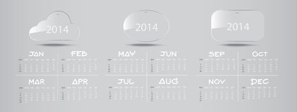 Glass Icon Calendar 2014. January to December : Illustration royalty free illustration