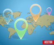 Glass icon on the map markers. Stock Photo