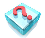 Glass icon question mark Royalty Free Stock Images