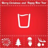 Glass Icon Vector. And bonus symbol for New Year - Santa Claus, Christmas Tree, Firework, Balls on deer antlers Stock Image