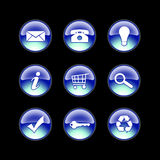 Glass icons blue. Blue glossy icons on black background Royalty Free Stock Images