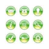 Glass icons lime. Green yellow icons white background Royalty Free Stock Images