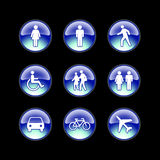 Glass icons people. Blue glowing icons of people Royalty Free Stock Photos