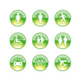 Glass icons people. Green yellow icons of people Royalty Free Stock Photos