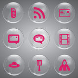 9 Glass Icons Pink Vector. Beautiful Icons Set pink In Glass Stock Image