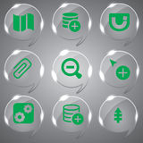 Glass Icons Set Green Vector. Best icons set vector green color for web design Royalty Free Stock Photo